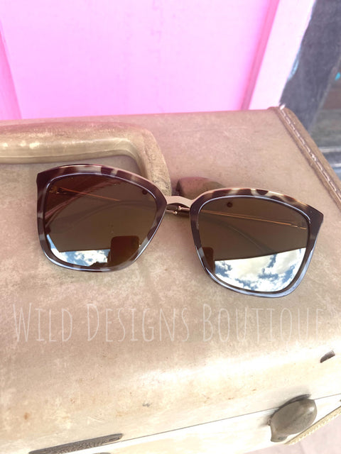 Polarized Winged Sunglasses Leopard