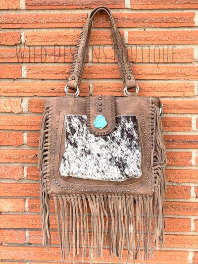 Hair-On Leather Concealed Carry Handbag Taupe