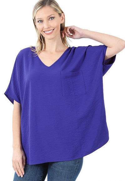 Woven Pocket Tunic Royal Blue