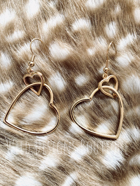 Love Potion Heart Earrings Gold