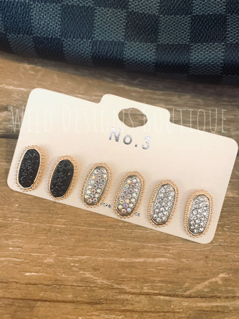 Sparkle Studs Gold Trio