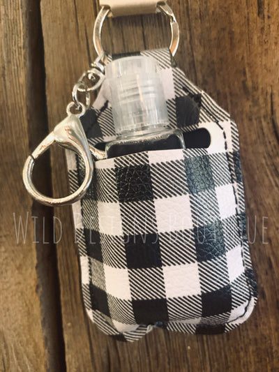 Hand Sanitizer Keychain Black Buffalo Plaid
