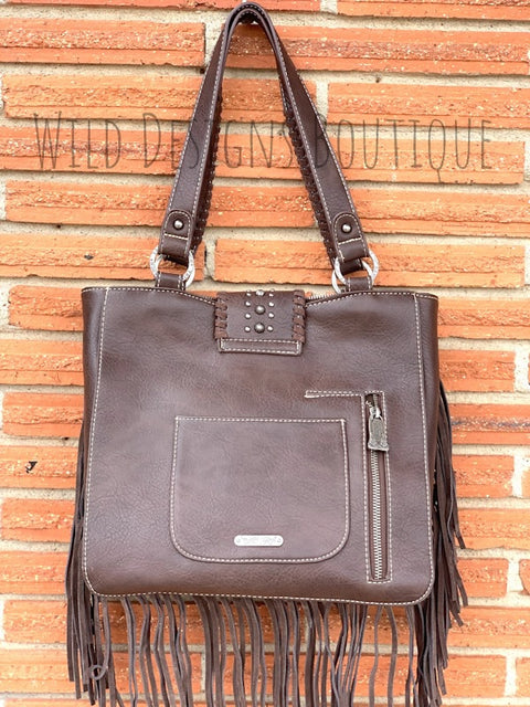 Hair-On Leather Concealed Carry Handbag Coffee