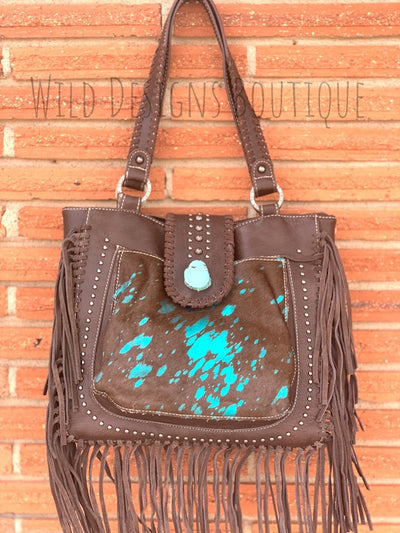 Hair-On Leather Concealed Carry Handbag Turquoise