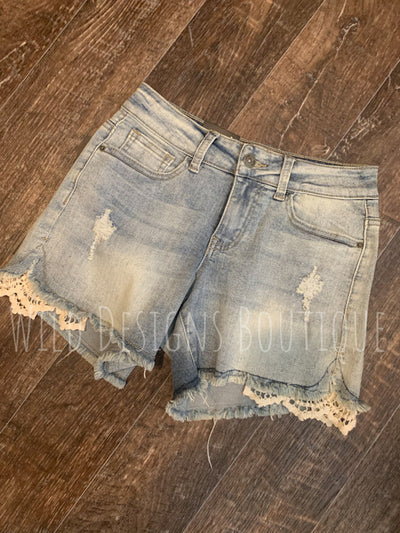 Denim Shorts With Crochet Lace