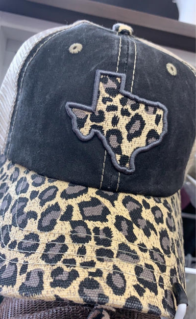 Embroidered Leopard TX Hat