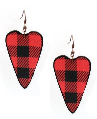Buffalo Plaid Heart Earrings Red