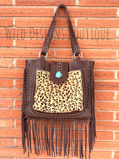 Hair-On Leather Concealed Carry Handbag Leopard