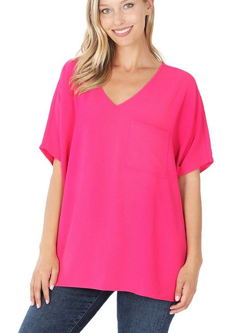 Woven Pocket Tunic Hot Pink