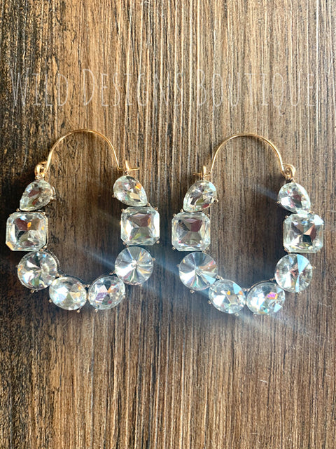 Blingy Jeweled Earrings Clear