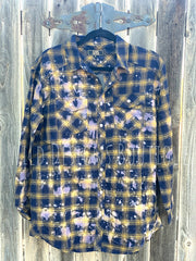 Bleached Plaid Flannel Navy/Mustard