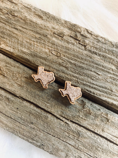 Druzy Texas Earring Rose Gold