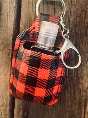 Hand Sanitizer Keychain Red Buffalo Plaid