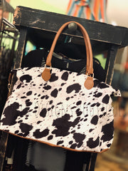 Faux Cowhide Weekender Bag Black