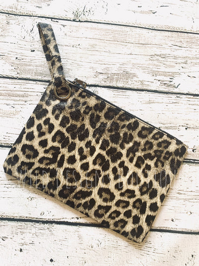Madison Leopard Clutch Tan