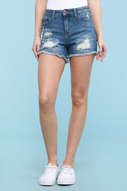 JB Destroyed Cutoff Jean Shorts Medium Wash