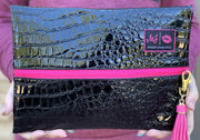 Makeup Junkie Bags Midnight Gator Hot Pink