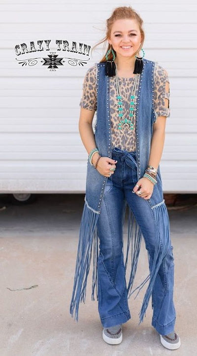 Denim Studded Fringe Vest