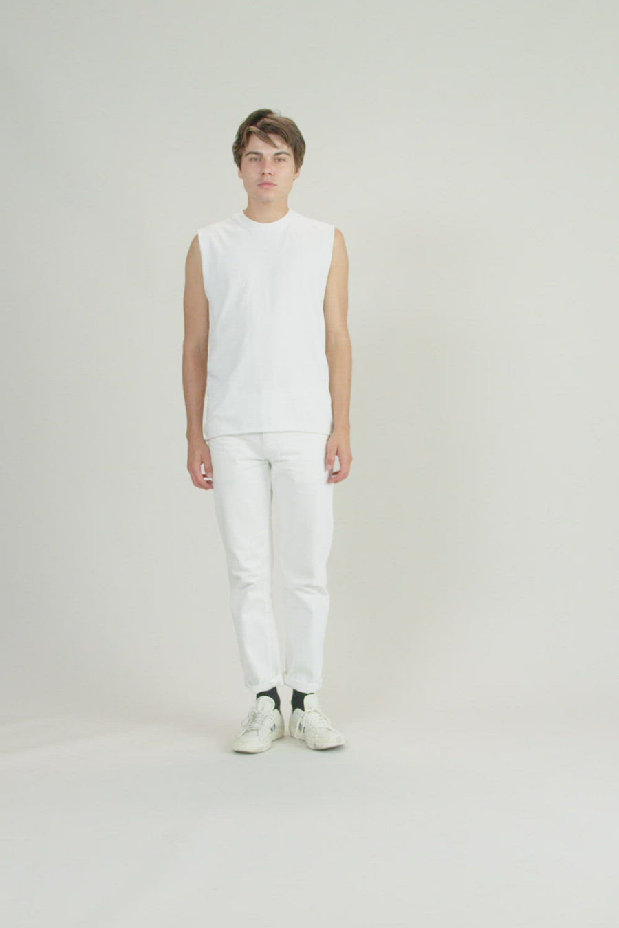 Recycled Short Sleeve Tank | Vintage White