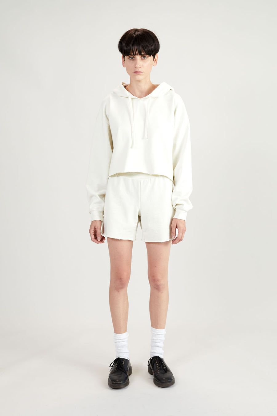 Recycled Terry Women's Crop Hoodie | Off-White