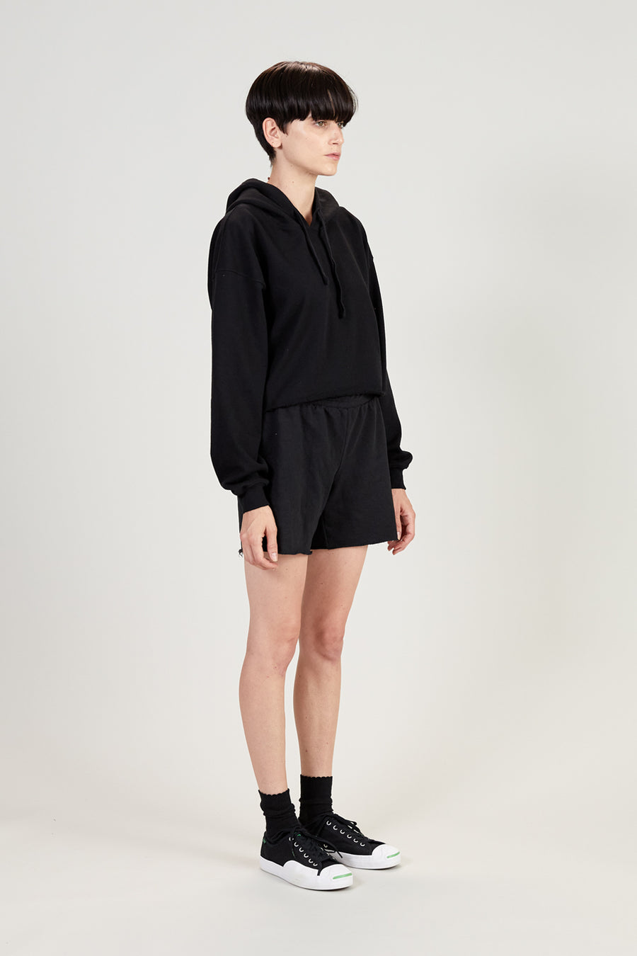 Recycled Terry Women's Crop Hoodie | Faded Black