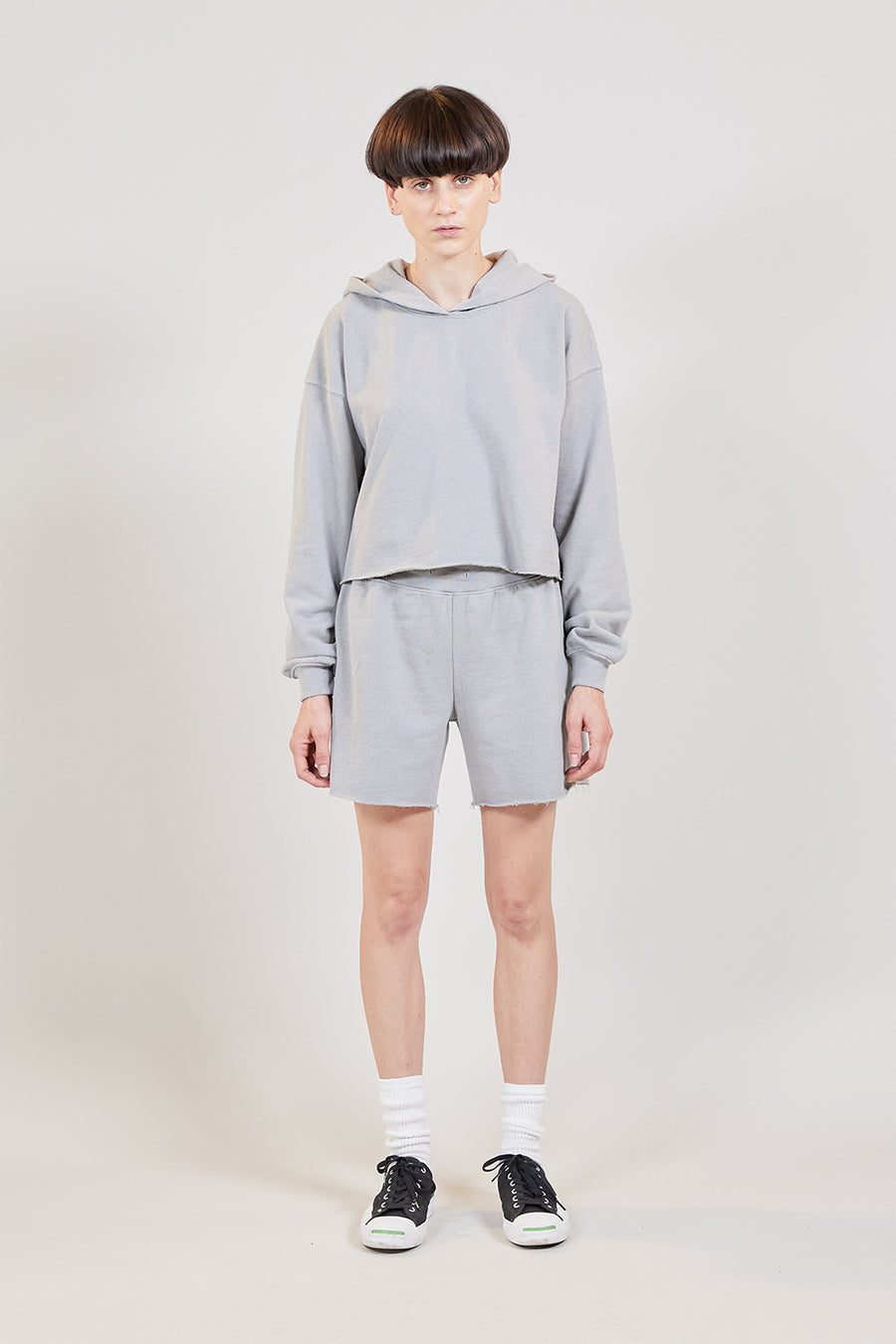 Recycled Terry Women's Crop Hoodie | Grey