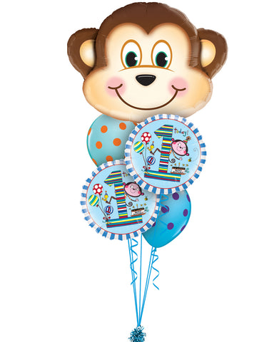 Classic Monkey's 1st Birthday Balloon Bouquet - PartyFeverLtd