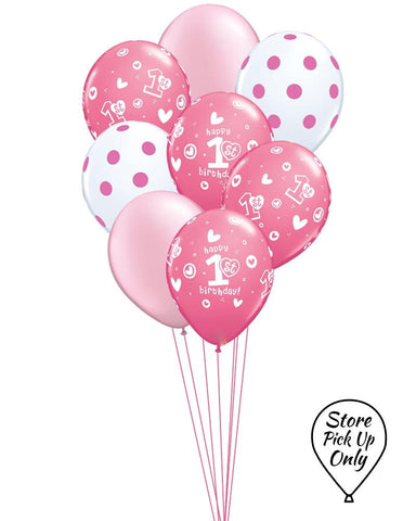 Girl's 1st Birthday Mix Balloons - PartyFeverLtd