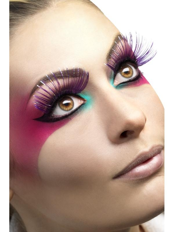 Deluxe Eyelashes (Purple with metallic strips) - PartyFeverLtd