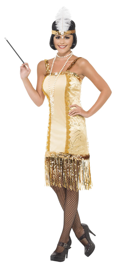 1920's Gold Charleston Costume - PartyFeverLtd