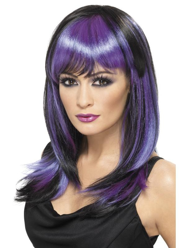 Purple and Black Glamour Witch Wig - PartyFeverLtd