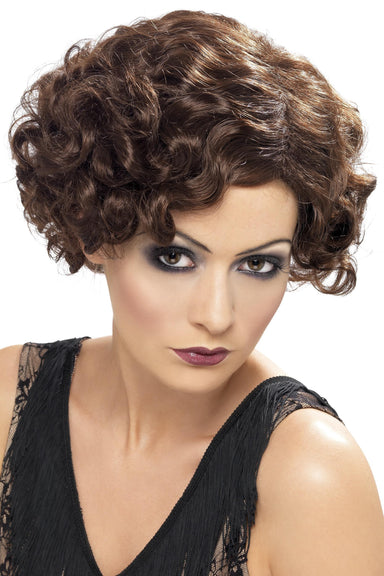 20's Flirty Flapper Wig Brown - PartyFeverLtd