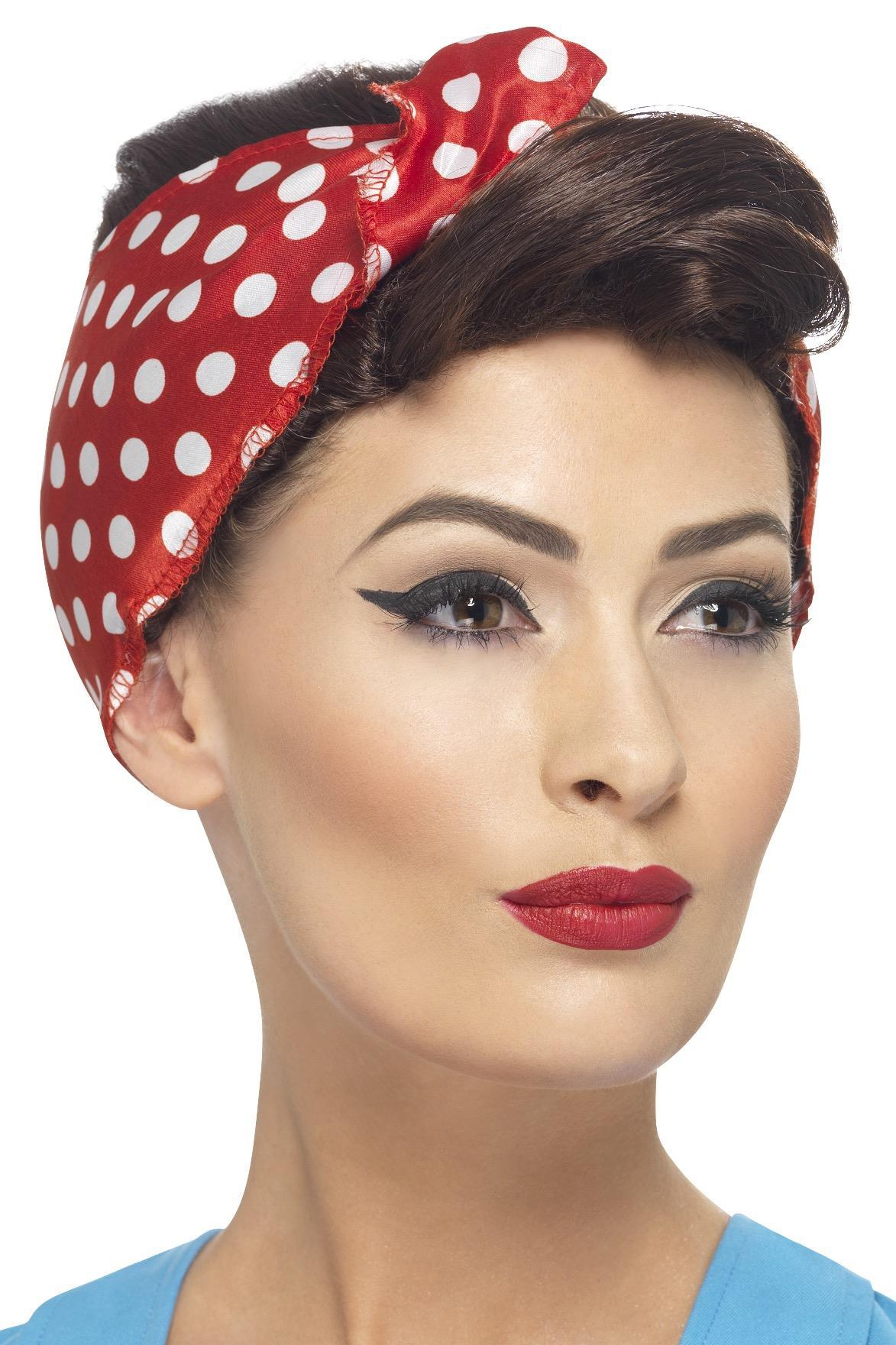 40s Rosie Wig with headscarf - PartyFeverLtd