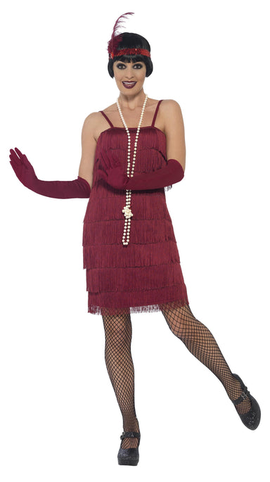 Short Burgundy Flapper Costume - PartyFeverLtd