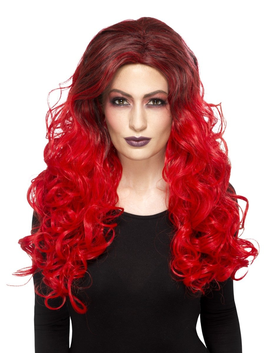 Deluxe Devil Glamour Wig, Red - PartyFeverLtd