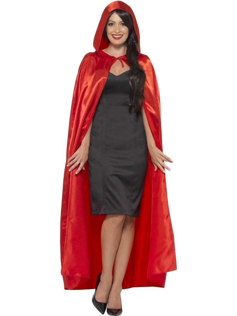 Red Satin Hooded Cape - PartyFeverLtd