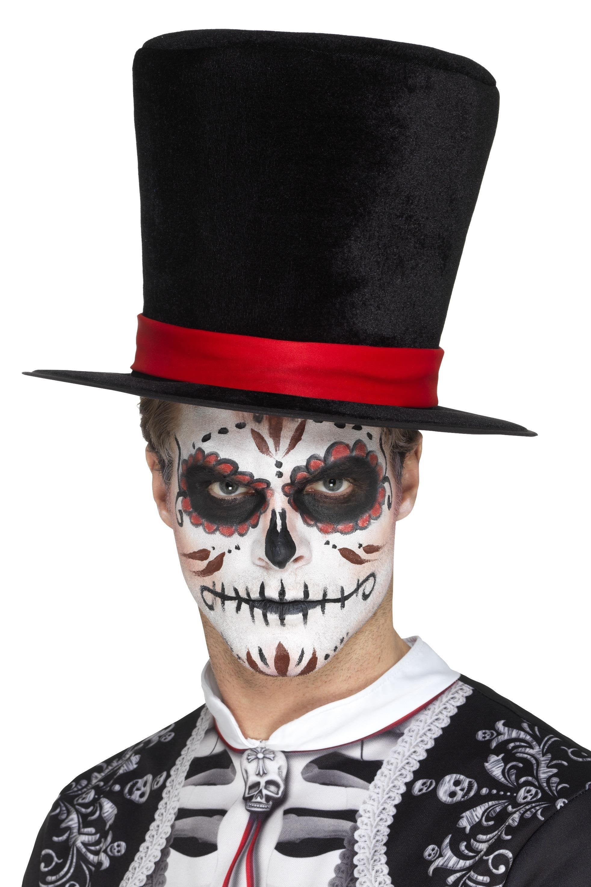 Day Of The Dead Black Top Hat - PartyFeverLtd