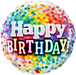 Rainbow Confetti Happy Birthday Balloon - PartyFeverLtd