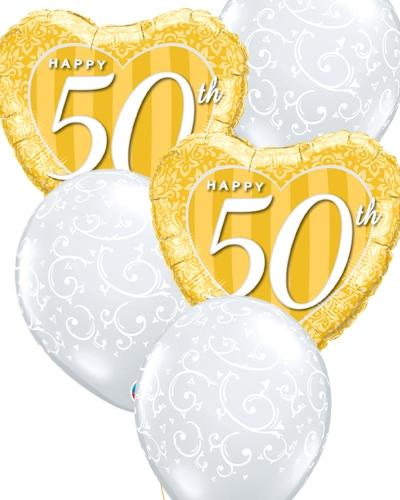 50th Anniversary Filigree Balloon Bouquet - PartyFeverLtd