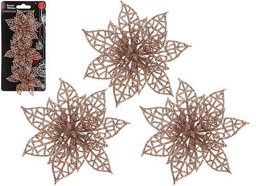 Rose Gold Poinsettia Clips - PartyFeverLtd