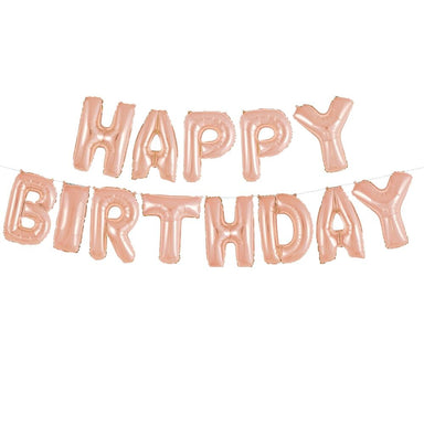 Rose Gold Happy Birthday Balloon Banner - PartyFeverLtd