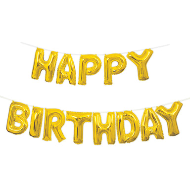 Gold Happy Birthday Balloon Banner - PartyFeverLtd