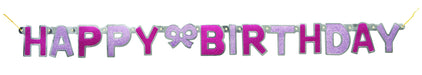 Pink Glitz Jointed Happy Birthday Banner - PartyFeverLtd
