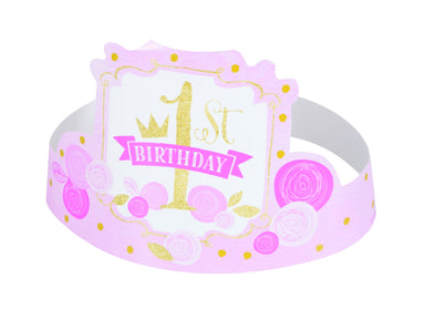 Pink & Gold 1st Birthday Party Hats - PartyFeverLtd