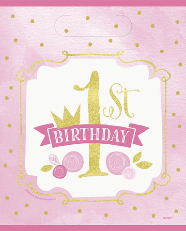 Pink & Gold 1st Birthday Party Bags - PartyFeverLtd