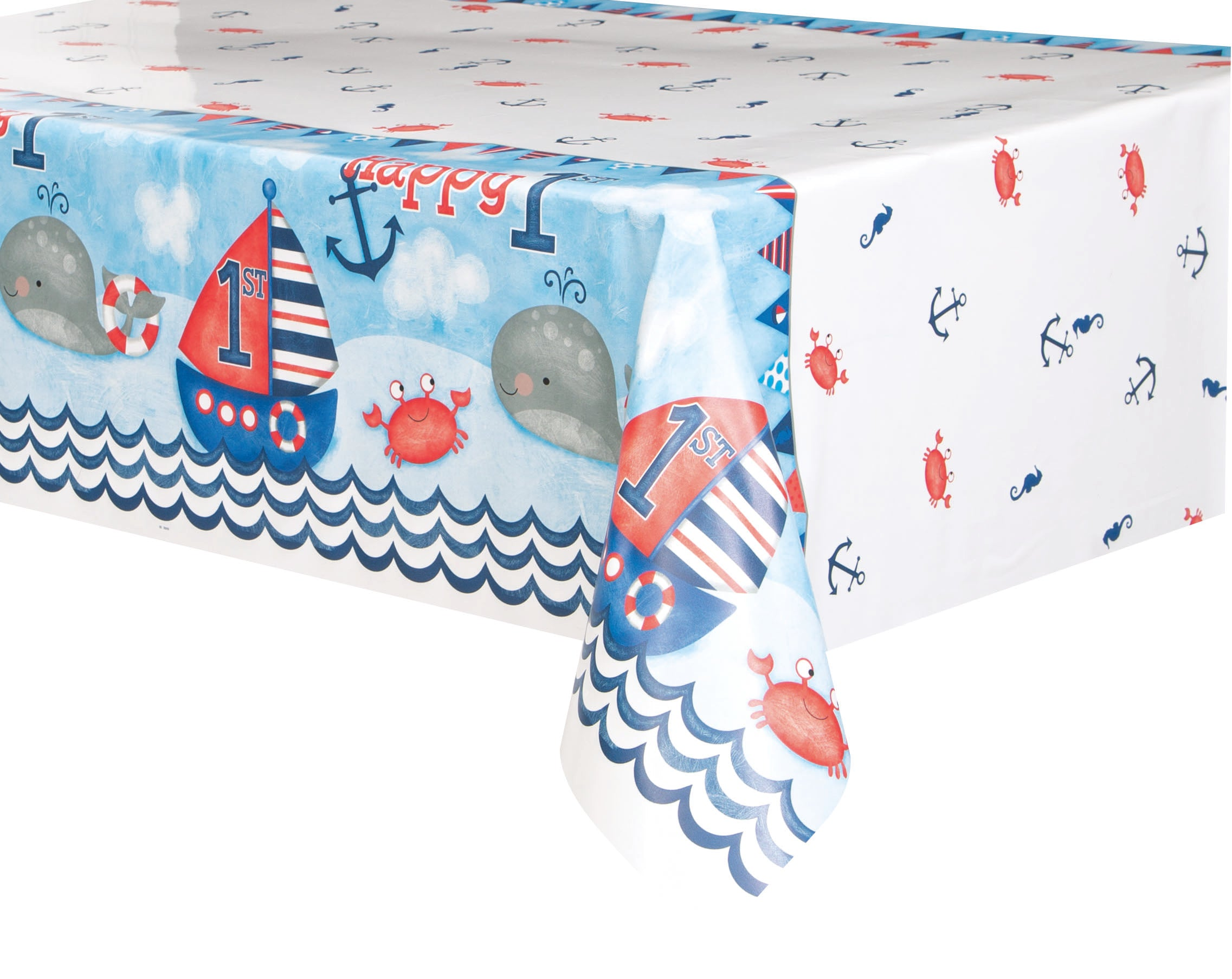 Nautical 1st Birthday Tablecover - PartyFeverLtd
