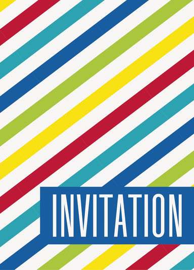 Bright Stripe Invitations - PartyFeverLtd