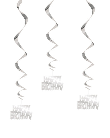 Silver Happy Birthday Swirl Decs - PartyFeverLtd