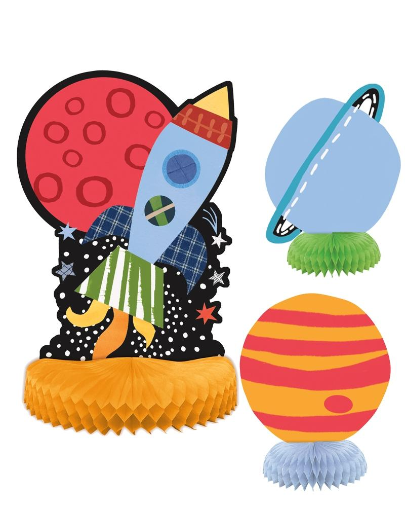 Outer Space Honeycomb Decorations - PartyFeverLtd