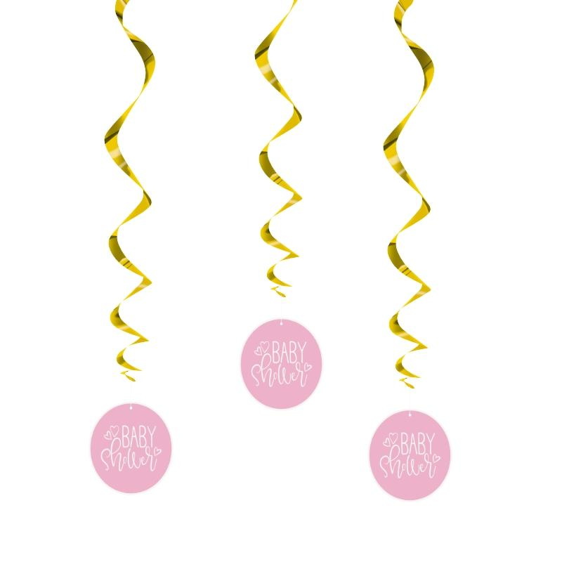Pink Heart Baby Shower Swirls - PartyFeverLtd